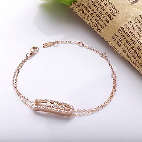 Pulseras de plata de ley 925 real movimiento pulseras de piedra con clara de lujo marca de joyería de fabricación YYD058-3