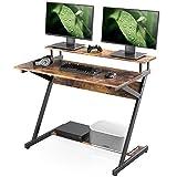 FITUEYES Mesa de Ordenador Madera Matchwood Z-Shaped 3 Plataformas Escritorio Estudio 100x60x84cm CD310005WG
