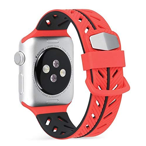 De Galen Correa de silicona suave para Apple Watch Series 5, 4, 3, 2, 1, 44 mm, 40 mm, 42 mm, 38 mm, correa de repuesto para iWatch – gris verde – correa de reloj de 38 mm o 40 mm
