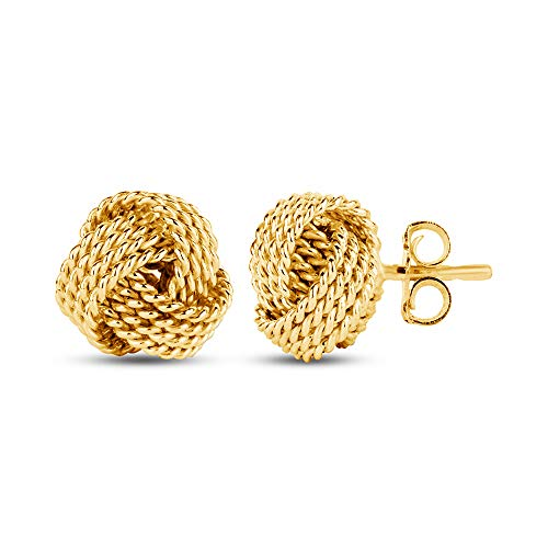 LeCalla Sterling Silver Jewelry Yellow Gold Italian Design Twisted Wire Love Knot Stud Earrings for Women