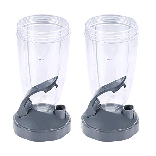 24oz Tall Cups with Flip Top To Go Lid, Compatible with Nutribullet 600W 900W NB-101B, 900 Pro Series Blender Juicer (Pack of 2)