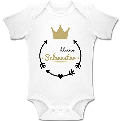 Shirtracer Geschwisterliebe Baby - Kleine Schwester - Krone - 3/6 Monate - Weiß - BZ10 - Baby Body Kurzarm für Jungen und Mädchen