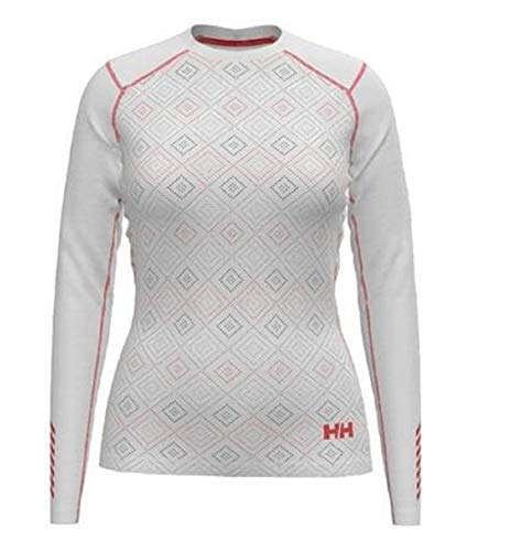 Helly-Hansen Womens LIFA Active Graphic Crew Base Layer Shirt, 001 White, Medium