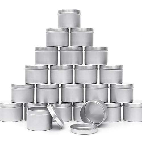 Moretoes Candle Tins 24pcs 4oz for DIY Candle Making Round Storage Containers Metal Travel Tins with Lids