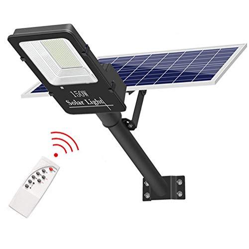 Faros solares LED de 150 vatios para exteriores, 300 LED, 2500 lúmenes, IP65, alumbrado público de seguridad del anochecer al amanecer, con control remoto y de luz, para calle, canal, patio, jardín, s