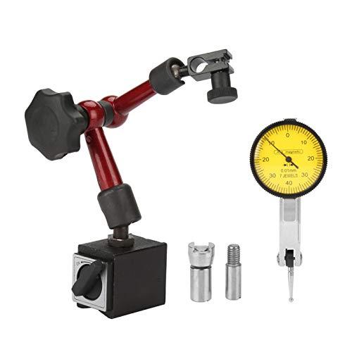 Soporte de soporte de base de indicador magnético fuerte y flexible con accesorios de instalación y dial de palanca Indicador de prueba Escala de indicador Precisión a prueba de golpes