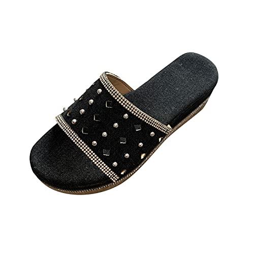 Todidafa - Remaches de estrás de vaquero para mujer con forma de sandalias y pantuflas redondas con miedo huecas, para mujer, abierto, casual, zapatos, Mujer, Negro , 39 EU