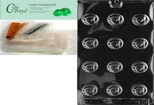Cybrtrayd Mdk50-AO081 Horse Head Traditional All Occasions Chocolate Candy Mold with Packaging Bundle of 50 Cello Bags, 50 Twist Ties and Chocolate Molding Instructions