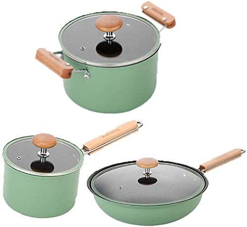 YYCHJU Cookware Set for Gas, Electric and Stovetop 3-Piece cookware Iron Non-Stick pan with Tempered Glass lid Suitable for Gas Induction Cooker Easy to Clean Pot Set