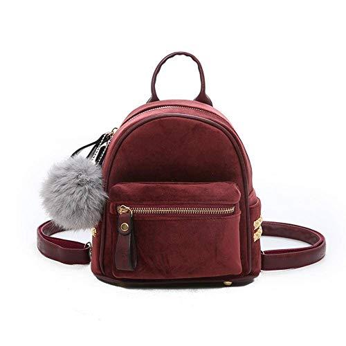 N-brand Warmer weicher Samt-Rucksack für Damen, kleiner Rucksack, modisch, Teenager, Mädchen, Schultertasche mit niedlichem Haarball, dekoriert weibliche Rucksäcke