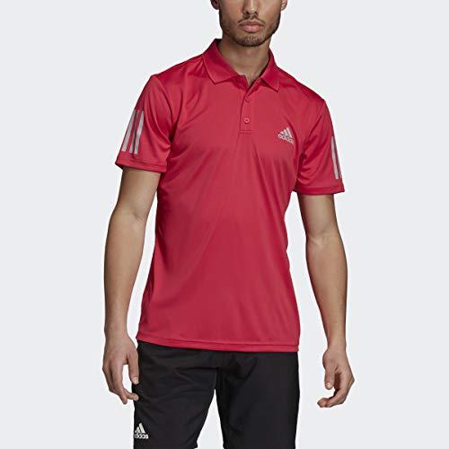 adidas Polo de tenis de 3 rayas para hombre, color rosa, talla 2XL