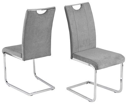 4er Set Stuhl Schwingstuhl'Mira' grau Microfaser 42x58x104cm Esszimmerstuhl Küchenstuhl Wohnzimmerstuhl verchromtes Kufengestell...