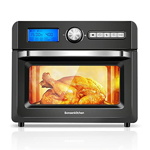 Bonsenkitchen Air Fryer Oven,19 QT Air Fryer Toaster Oven Combo with Digital Screen, Large Capacity,1500W Electric Hot Oven Oilless Cooker, 11 Presets,4 Air Fryer Accessories, UL Listed, Digital-Black