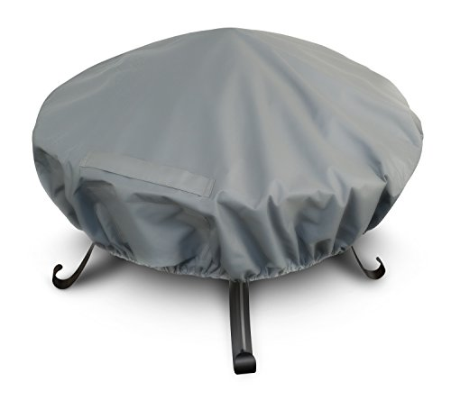 LIVIVO Premium Fire Pit Cover with Covered Air Vents, and Elastic Hem for Secure Fit (Round)