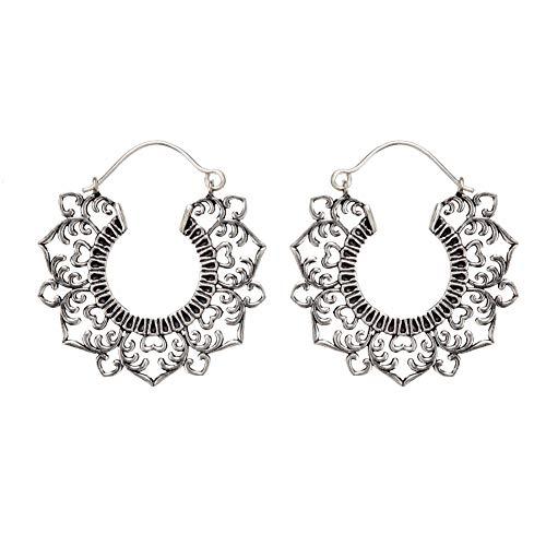 81stgeneration Frauen Silber Messing 40 mm Filigran Blume Stammes Mandala Creolen Ohrringe