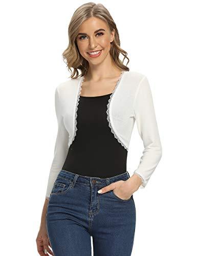 CARCOS Bolero elegante para mujer, de encaje, bolero, blazer, corto, de punto, festivo Blanco S