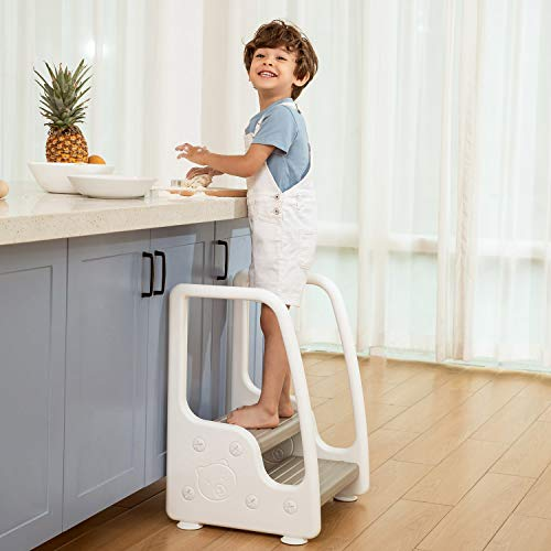 Mangohood Standing Learning Tower Kitchen Helper Two Step Stool Footstool with Handles for Toddlers Children Kids Non-Slip Safety Plastic