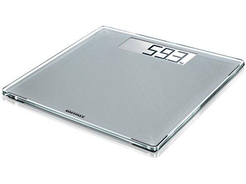 Soehnle digitale Personenwaage Style Sense Comfort 400 Silver, extragroße, starke und extraflache Personen Digitalwaage, formschöne Waage mit LCD-Anzeige