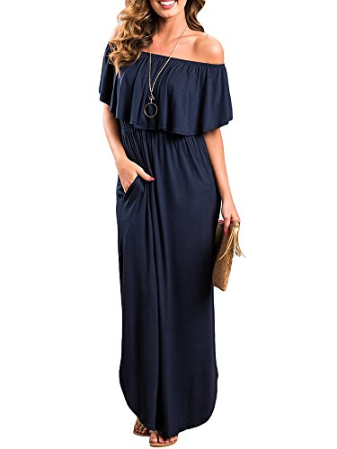 Odosalii Damen Off Shoulder Sommerkleid Boho Kleider Bandeau Langes Kleid Casual Strandkleider Side Split Maxikleid Cocktail Abendkleid, Dunkelblau, S