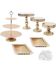 6 stycken party glas kristall tårtställ set, kakställ kakställ kristall display platta sats, födelsedag fest bröllopstårta ställ hållare med kristallhängen och pärlor guld
