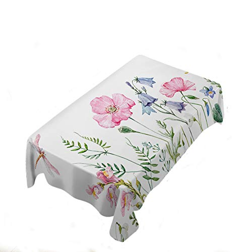 Galaxy Space Tablecloth Summer Spring Wildflowers Poppy Snowdrop Table Cloth for Family Dinner Special Occasions Barbeques Picnic Everyday Use 60x104 Inch