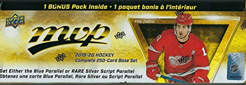 2019 2020 Upper Deck MVP Hockey Series Factory Sealed 250 Card Set with 50 Shortprinted Stars and Rookies Plus a Bonus Pack containing Eastern Stars, Western Stars and Rookie Star Formations