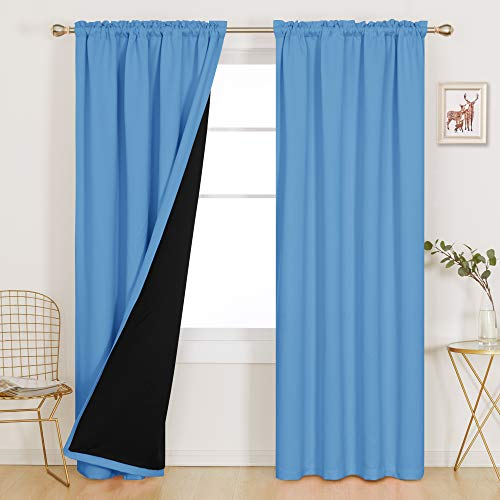 Deconovo 100% Blackout Curtains 84 inches Long with Liner Total Blackout Thermal Insulated Noise Cancelling Window Panels for Bedroom Livingroom Nursery, Set of 2 Panels, 52x84 in, Sky Blue