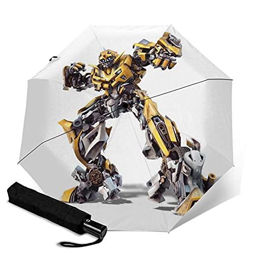 Movie Transformers Bumblebee Paraguas automático de tres plegables, paraguas plegable a prueba de viento, viaje compacto, apertura y cierre automático, resistente y fácil de usar