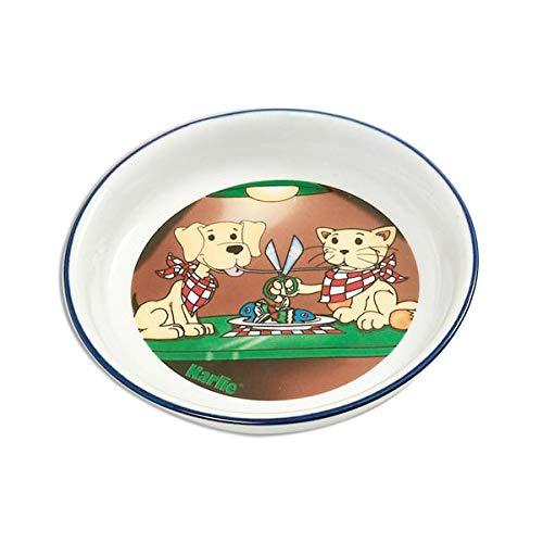 Karlie 44208 Napf Keramik, handbemalt 200 ml ø: 16 cm Motiv Katze & Hund