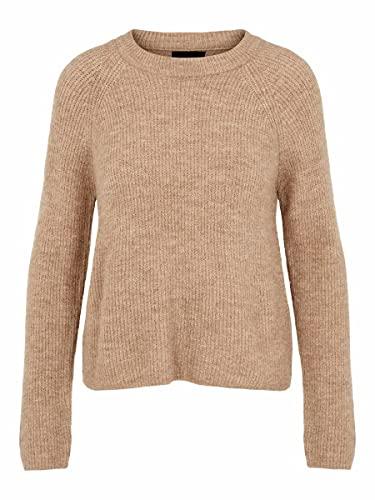 PIECES Damen Pcellen O-neck Knit Noos Pullover, Natural, L EU