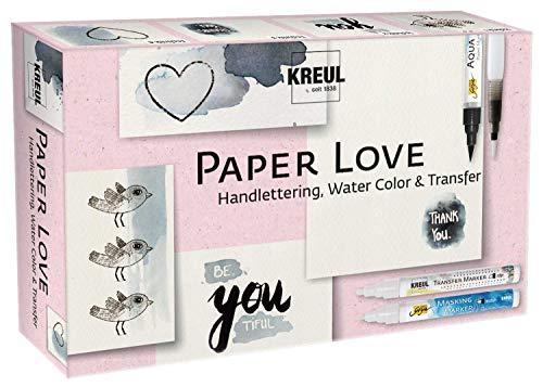Kreul 49933 - Paper Love, Kreativ Set für alle Papierliebhaber, Masking Marker fine, Aqua Paint Marker schwarz, Transfer Marker edge, Wassertankpinsel, Motivbogen und Block 10 Blatt DIN A6
