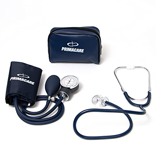 Primacare DS-9197-BL Professional Classic Series Manual Adult size Blood Pressure Kit, Emergency Bp kit with Stethoscope and Portable Leatherette Case, Nylon Cuff, Blue