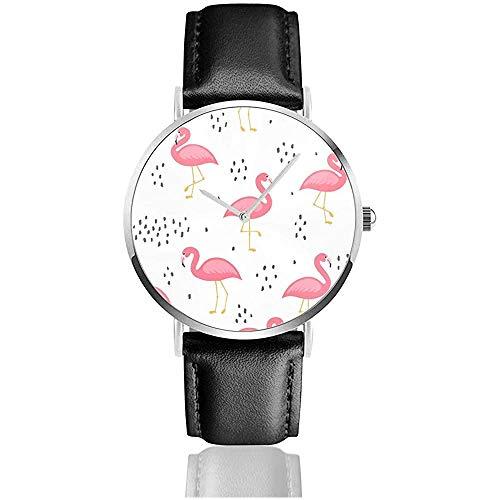 Flamingo Leuke Naadloos Patroon, Zomer Behang Achtergrond Lederen Band Polshorloges Casual Klassieke RVS Quartz Horloge