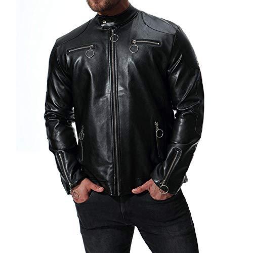 Preisvergleich Produktbild WEDGFG 2019 Herbst Neue Außenhandel Größe Männer europäischen und amerikanischen Kragen Motorrad Leder Herren Lederjacke Spot B025-schwarz_5XL