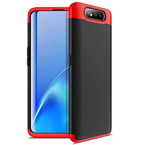 Capa Capinha Anti Impacto 360 Para Samsung Galaxy A80 Tela De 6.7Polegadas Case Acrílica Fosca Acabamento Slim Macio - Danet (Preto com vermelho)