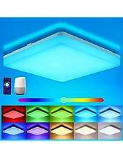 Oeegoo Wifi LED plafondlamp dimbaar, Smart LED plafondlamp RGB kleurverandering, 15W LED plafondlamp Alexa, Google Home compatibel, app- / spraakbediening, IP54 waterdichte badkamerlamp woonkamer lamp
