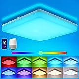 Oeegoo Wifi Smart Lámpara LED de techo, control de aplicación, control por voz (Alexa, Google Assistant), 15W IP54, cambio de color, regulable, blanco cálido y frío, luz ambiental RGB