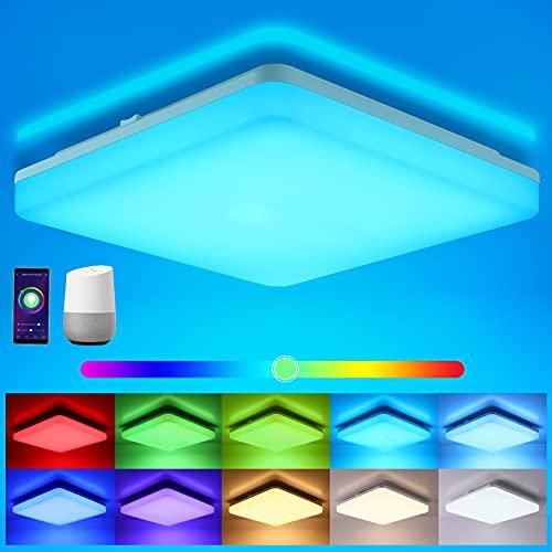 Oeegoo Wifi LED Deckenleuchte Dimmbar, Smart LED Deckenlampe RGB Farbwechsel, 15W LED Deckenleuchte Alexa, Google Home kompatibel, App- / Sprachsteuerung, IP54 wasserdichte Badlampe Wohnzimmerlampe