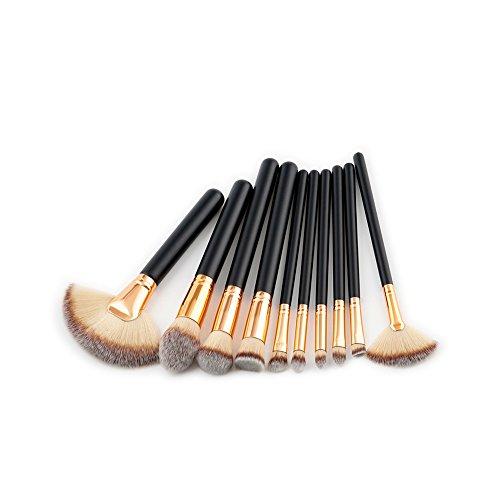 Demarkt 10 Pcs Brosse de Maquillage de poignée en Bois Noir Ensemble en Forme de Fan Outil de Maquillage Brosse de Maquillage de beauté Professionnelle(Noir 3) 20 * 15 * 1.6cm