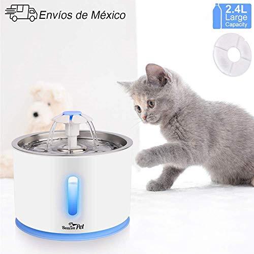 MINGPINHUIUS Bebederos para Gatos, Fuente para Gato, 80oz/2.4L Fuente de Agua de Flower (Sin Tapete de Silicona)
