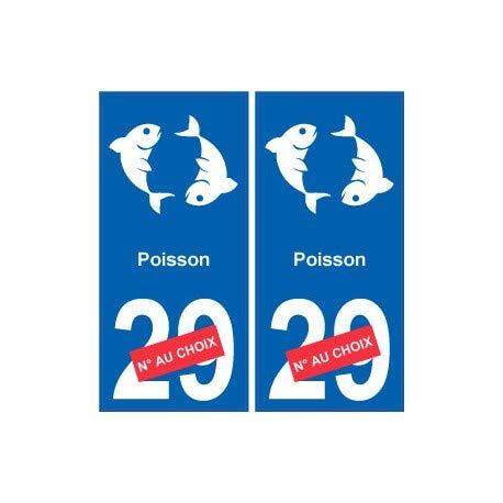 Stickers voor nummerplaat, motief: vissen, sterrenbeeld 2 Angles: droits