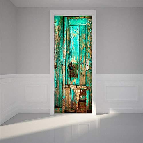 BXZGDJY 3D-deurstickers voor binnendeuren, groene oude houten deur, 3D-deursticker, uitgang, decoratie, deur-wand-papier-wandfoto, Pvc-waterdichte zelfklevende schaal en stok-deur, wandbehang, kunstdecoratie 95X215CM