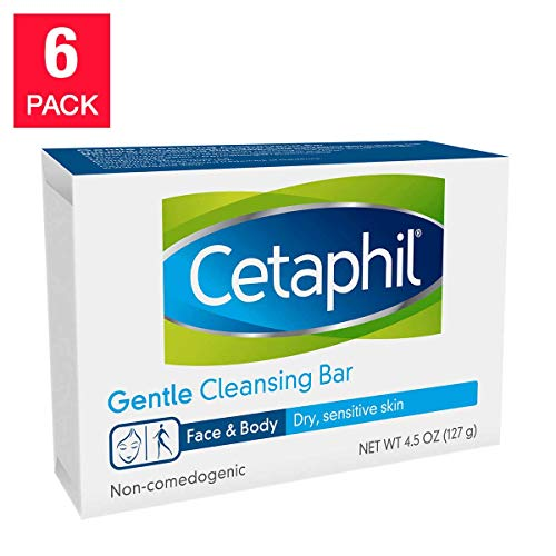 Cetaphil Gentle Cleansing Bar for Dry/Sensitive Skin 4.50 Ounce (6 Pack)