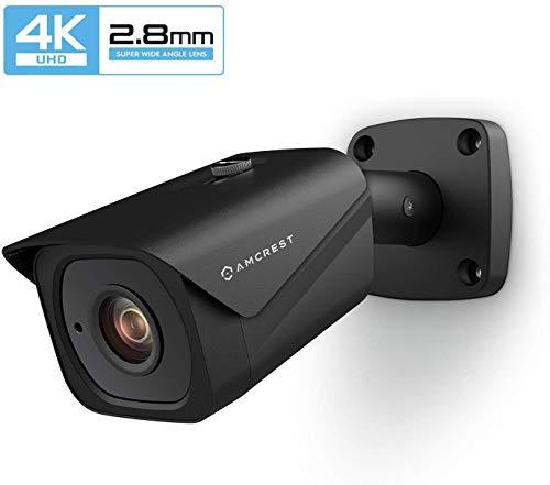 Amcrest UltraHD 4K (8MP) IP POE Überwachungskamera für den Außenbereich, 3840 x 2160, 32 m Nachtsicht, 2,8 mm Objektiv, IP67-wetterfest, MicroSD-Aufnahme, Schwarz (IP8M-2496EB)