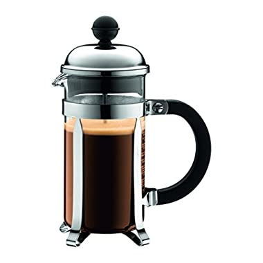Bodum Chambord French Press Coffee Maker, Stainless Steel, Glass, 12 Ounce.35 Liter, (3 Cup), Chrome