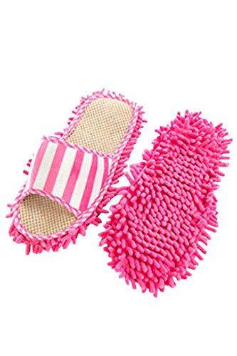 Gosear-1par Zapatos de Zapatillas de Chenille Ultrafino con Función de Polvo mopa de Limpieza para Interior de Casa(Rosa)
