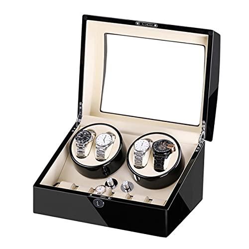 LYLSXY Caja De Winder De Reloj Automática para Relojes Automáticos, con Almohadas De Relojes Y Motor Flexibles, De Rotación (Color : Black+White)