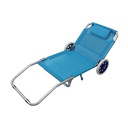 MilaniHome Spiaggina Carrello Sdraio Mare Pieghevole Alluminio Textilene Azzurro per Campeggio Spiaggia Piscina Giardino