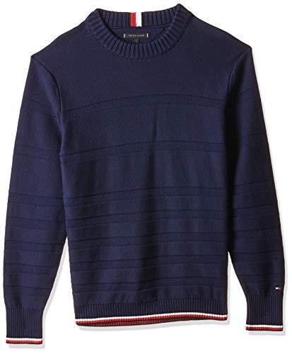 Tommy Hilfiger Herren Tonal Stripe Sweater Sweatshirt, Blau (Maritime Blue 431), Medium (Herstellergröße:M)