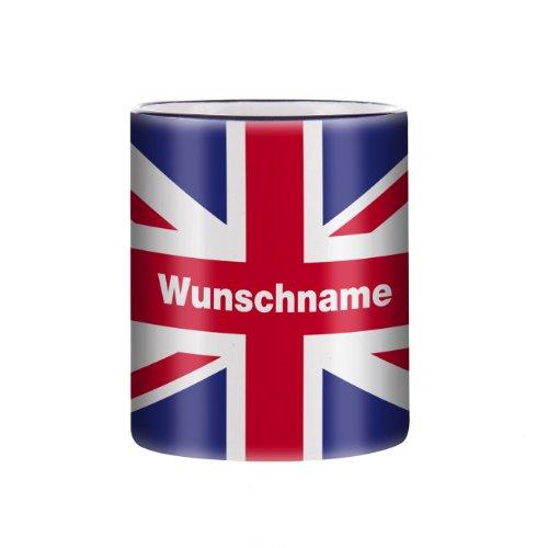 Herz & Heim® Tasse mit Wunschnamen und Flagge - Großbritannien -